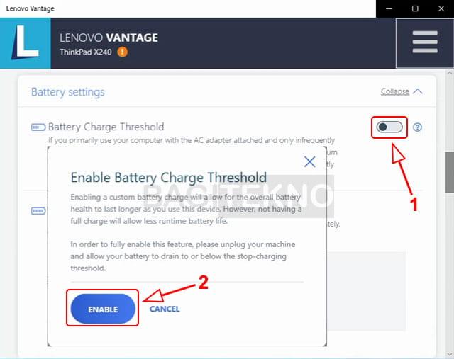 Mengaktifkan baterai charge treshold