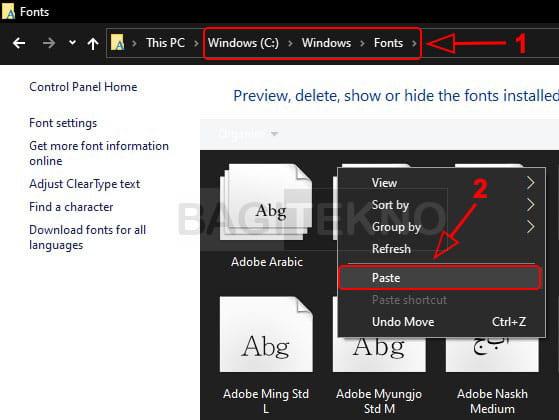 Cara menambah font baru di Laptop Windows font lewat File Explorer