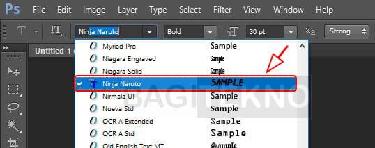 Menggunakan font baru di Komputer Windows