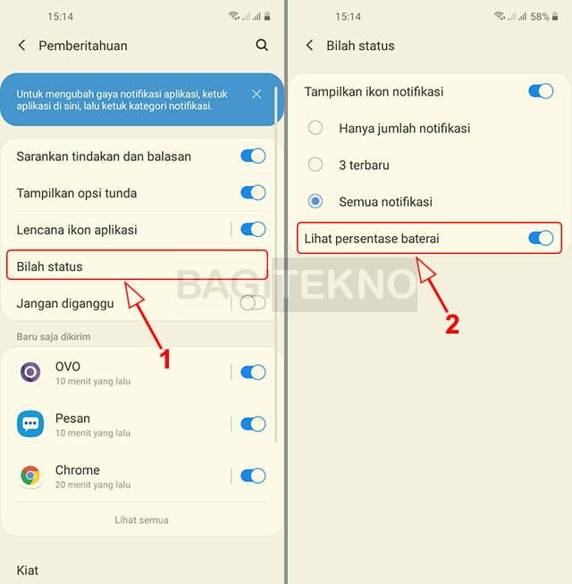 Cara menampilkan persentase sisa baterai di status bar Samsung