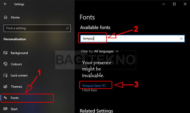 Cek nama font di Windows 10