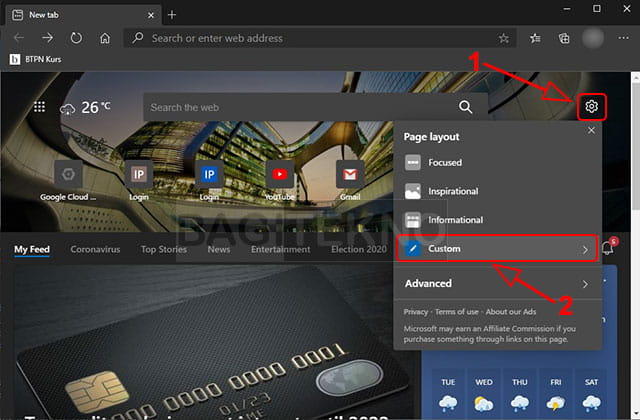 Mengubah page layout Microsoft Edge