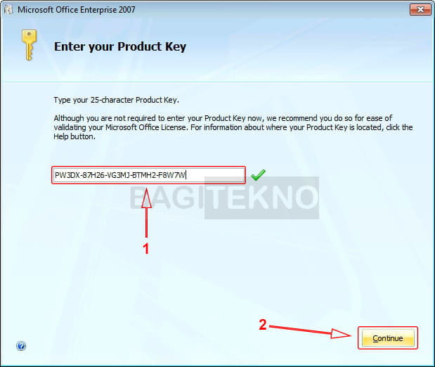 Serial Number (Product Key) Microsoft Office 2007