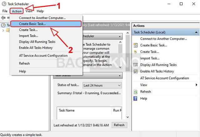 Membuat tugas menggunakan task scheduler