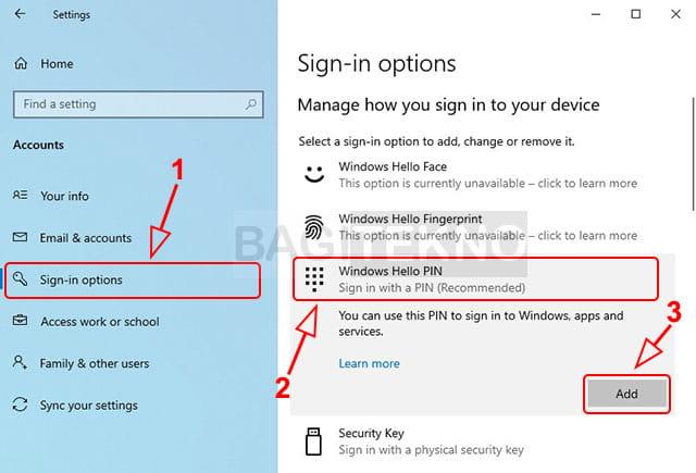 Menambahkan PIN di Komputer Windows 10