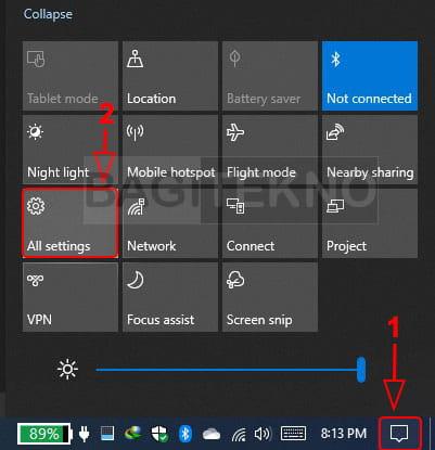 cara membuka Setting Windows 10 melalui task manager