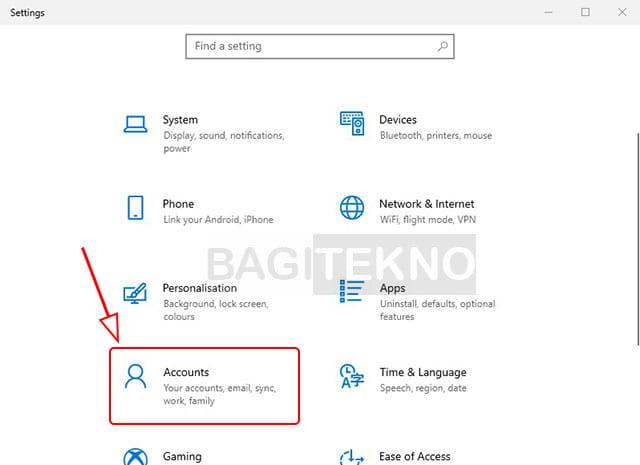 Pengaturan akun Windows 10