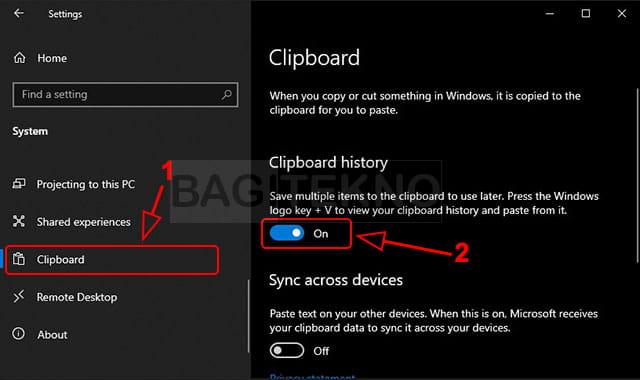 Cara mengaktifkan Clipboard history di Windows 10