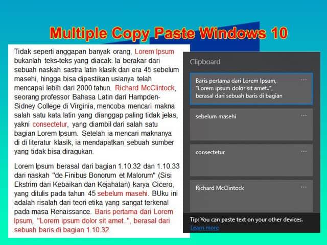 Cara multi copy paste dengan Clipboard di Laptop Windows 10