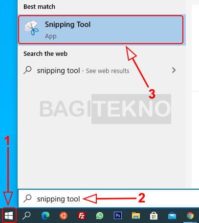 Membuka Snipping Tool