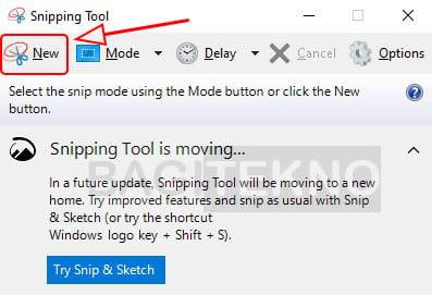 Screenshot Windows 10 menggunakan Snipping Tool