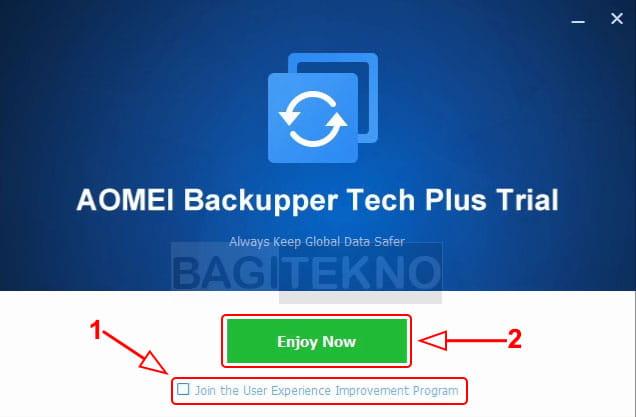 Buka software Aomei Backupper yang sudah terinstall
