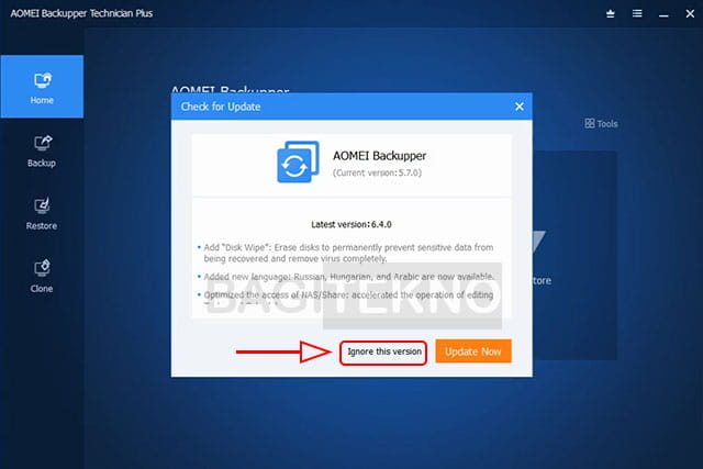 Jangan update software Aomei Backupper