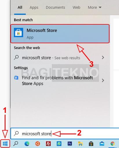 Membuka Microsoft Store Windows 10