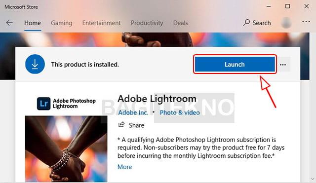 Membuka aplikasi yang sudah diinstall di Microsoft Store