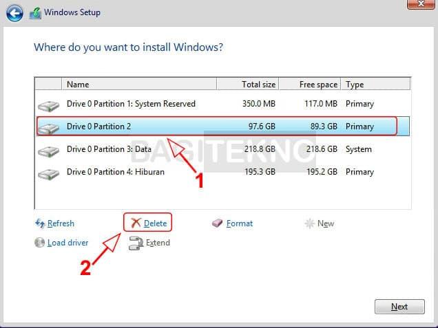 Menghapus partisi Windows sebelumnya agar bisa menginstall Windows 8.1