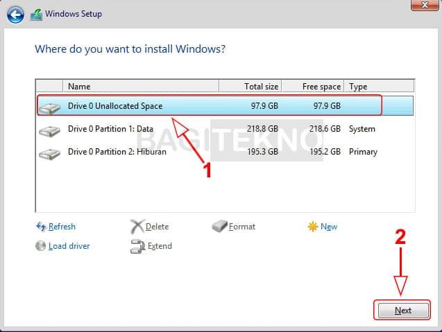 Menginstall di partisi Windows 8.1