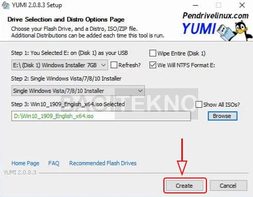 mulai membuat flashdisk installer Windows pada yumi