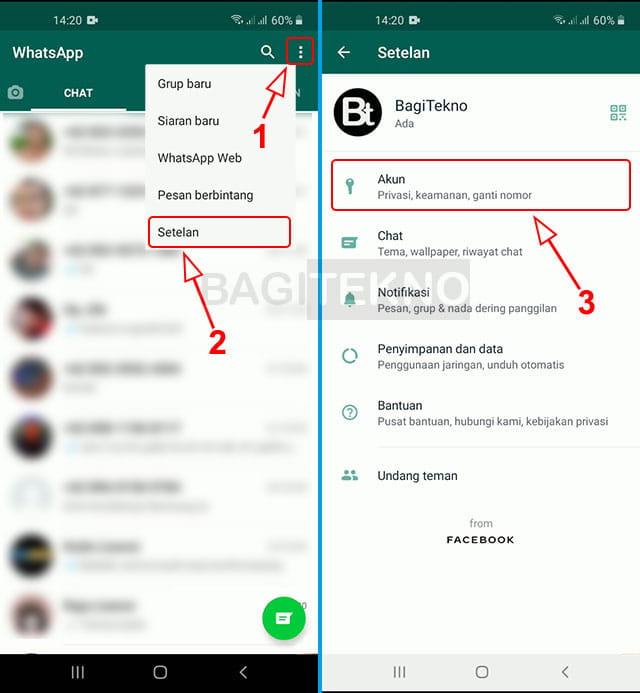 Pengaturan akun WhatsApp
