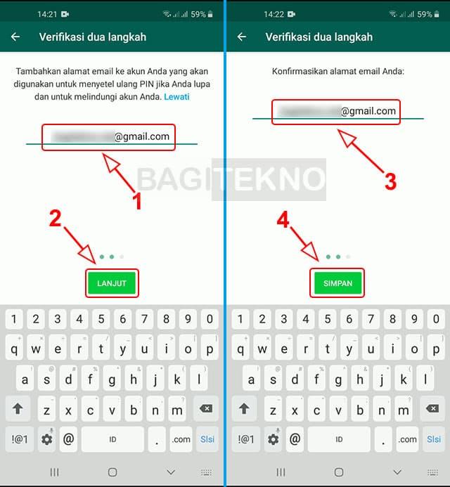 Masukkan email sebagai recovery jika nanti lupa PIN verifikasi dua langkah