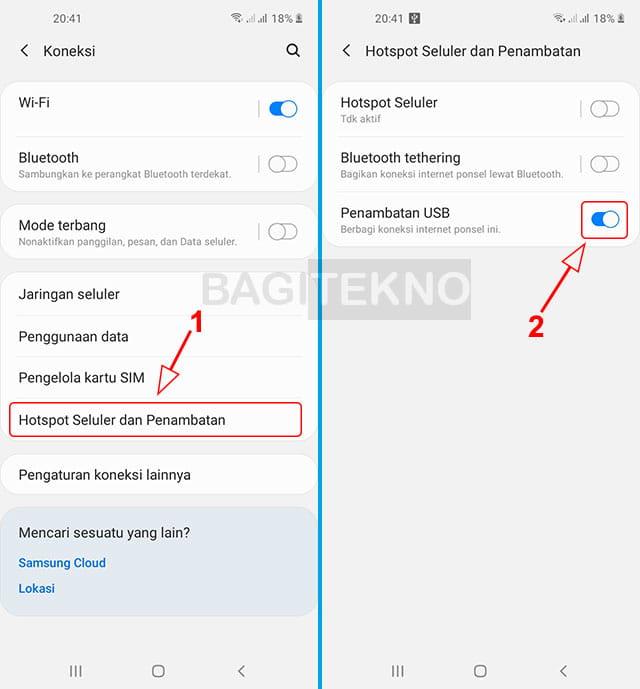 Cara berbagi jaringan internet dari HP ke Laptop menggunakan kabel data pada HP Samsung