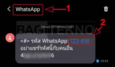 Ciri-ciri sms kode OTP WhatsApp