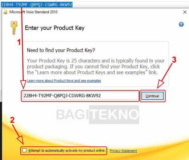 Masukkan product key Visio 2010