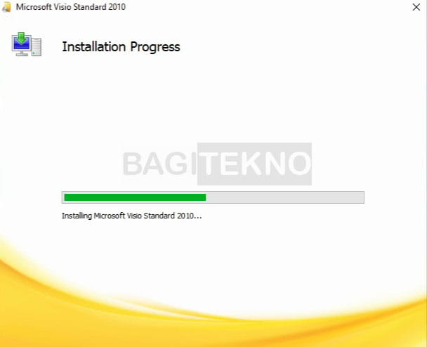Proses install Microsoft Visio 2010 sedang berlangsung