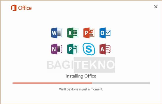 Proses install Microsoft Office 2016 sedang berlangsung