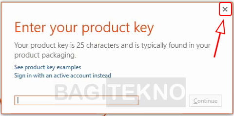 Tidak memasukkan product key Visio 2013