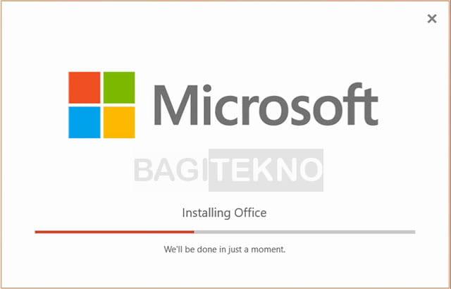 Proses install Microsoft Visio 2019 sedang berlangsung