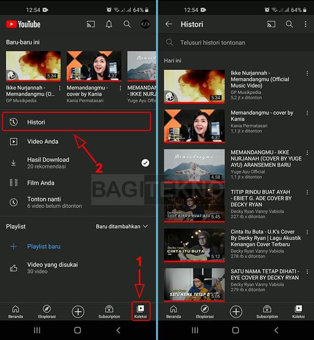 Menampilkan video apa saja yang sudah ditonton di YouTube Android