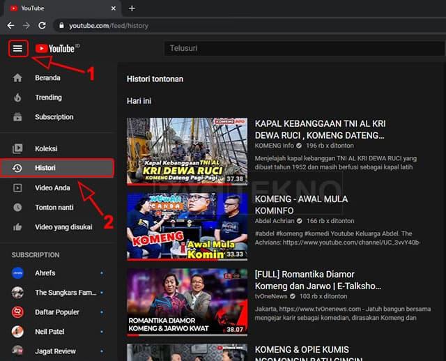 Melihat video yang sudah ditonton di YouTube Laptop