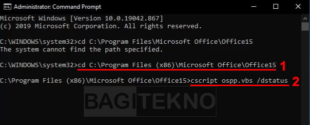Hapus serial number Office lewat CMD