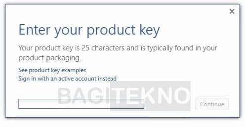 Masukkan product key Office