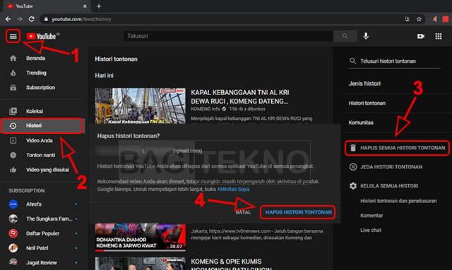 Membersihkan histori video yang pernah ditonton di YouTube Laptop