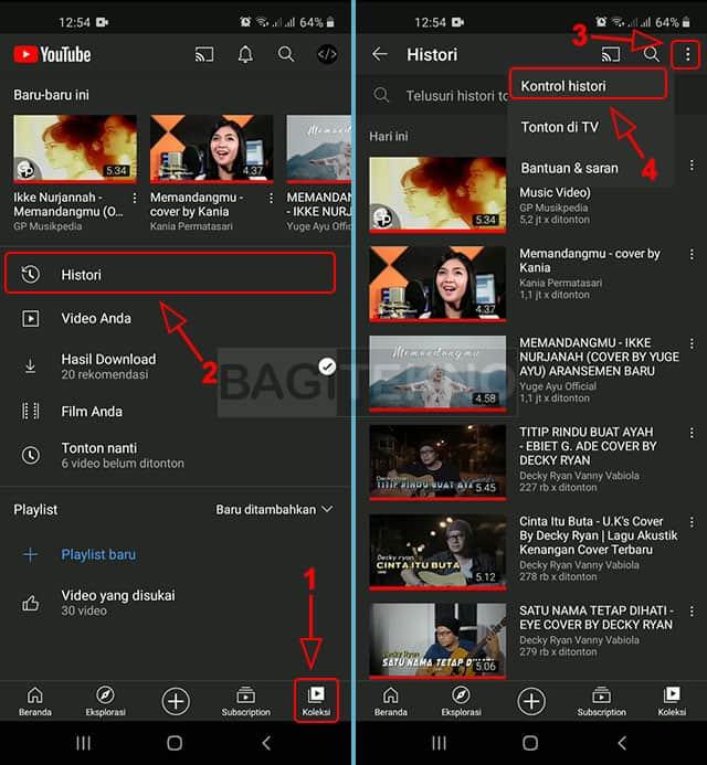 Menghapus riwayat video YouTube Android