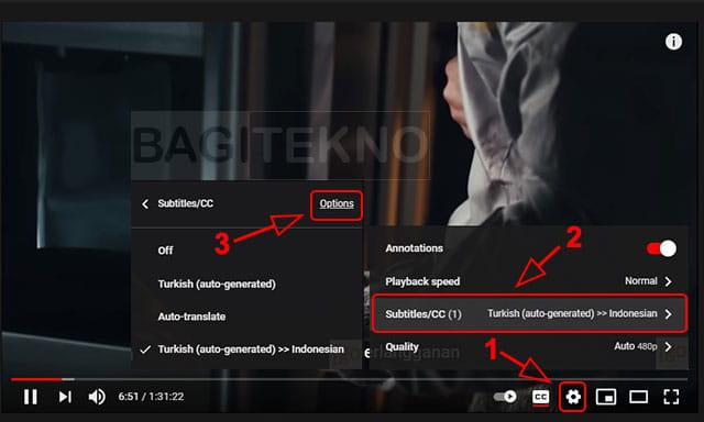 Mengubah tampilan subtitle video di YouTube