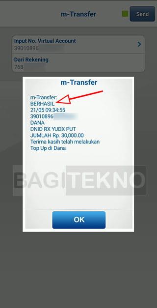 saldo dana sudah diisi menggunakan BCA Mobile