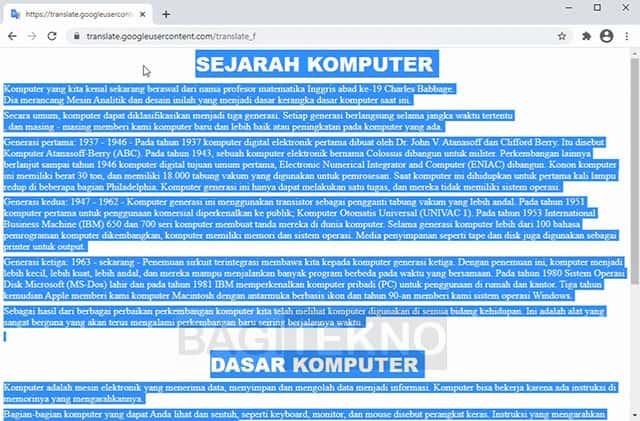 Hasil terjemahan dokumen Word menggunakan Google Translate