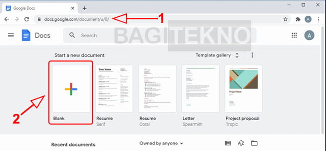 Membuat dokumen baru di Google Docs