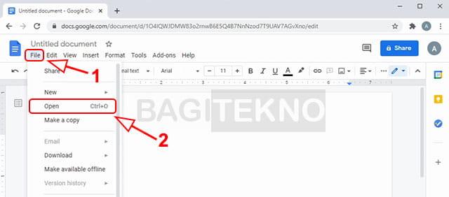 Membuka file Word yang ingin diterjemahkan di Google Docs