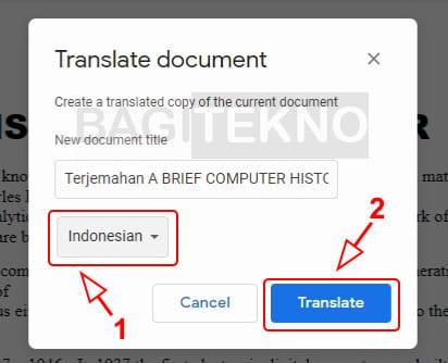 Translate dokumen ke bahasa Indonesia di Google Docs