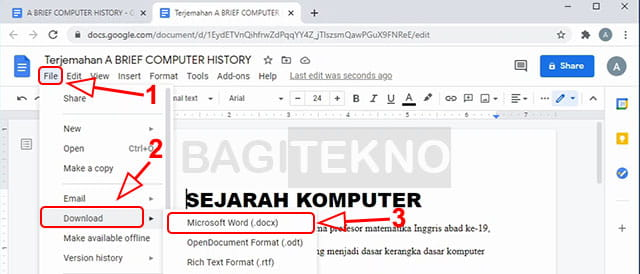 Konversi dokumen Google Docs ke Microsoft Word
