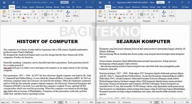 Hasil terjemahan dokumen Word dari bahasa Inggris ke Indonesia