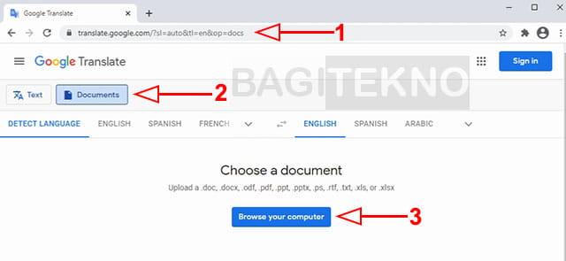 Pilih file Word yang ingin diterjemahkan di Google Translate