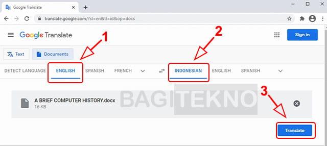 Terjemahkan file Word dari Inggris ke Indonesia menggunakan Google Translate