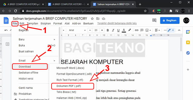Mengubah hasil terjemahan menjadi PDF