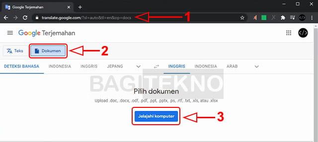 Upload file PDF ke Google Docs untuk diterjemahkan