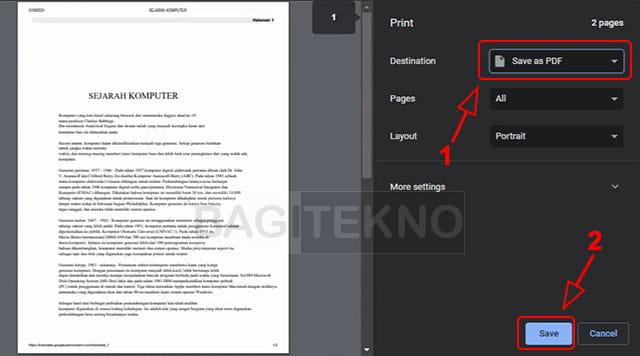 Menyimpan hasil translate ke PDF